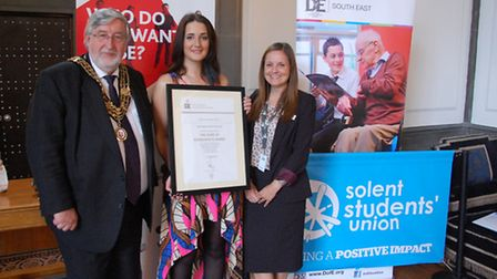 The Mayor of Southampton, Hannah Mullarky - Vice-President of Student Engagement and Hayley Meredith