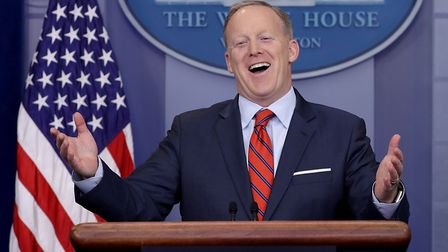 Former White House Press Secretary Sean Spicer answers reporters' questions during the daily news co