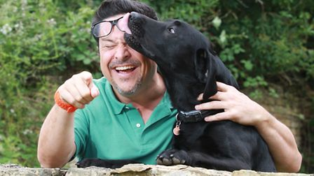 Comedian and Cotswold Life columnist Dom Joly with his dog Fitzgerald / Photo by Antony Thompson (Th