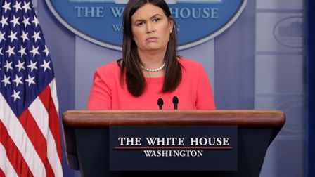 Former White House Press Secretary Sarah Huckabee Sanders conducts the daily news conference in the
