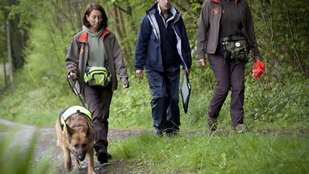 Emma Parker (left) joins Sarah Bennett (centre) from CWT along with Conservation Dogs' director Loui