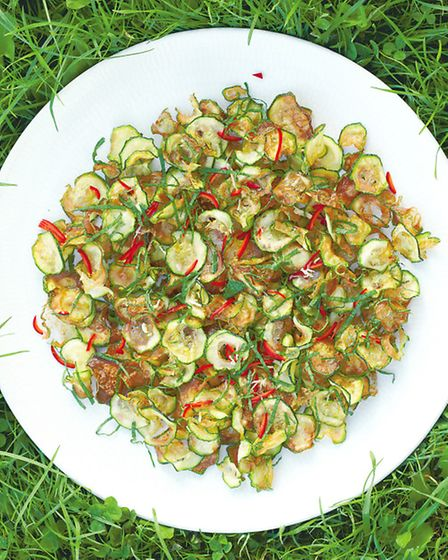 In Southern Italy, the courgettes are left out in the sun to dry before being fried for this dish