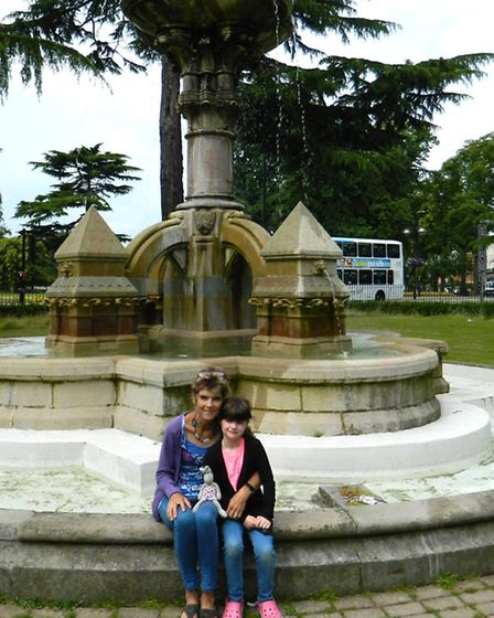 Tracy and daughter Rosie next to one of the fountains in Jephson Gardens