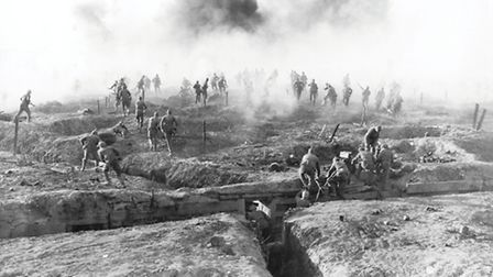 Soldiers go 'over the top' at the Western Front