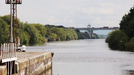 View from Latchford Locks towards the Thelwall Viaduct