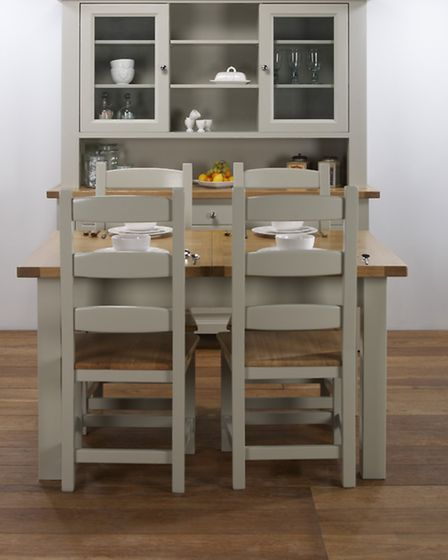 Soft grey tones work well for kitchen sets