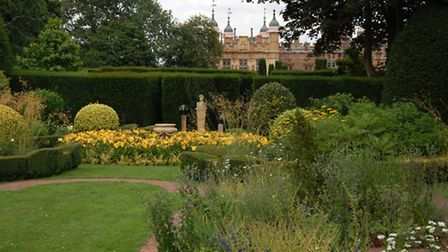 The turret of Knebworth House from the Yellow Garden
