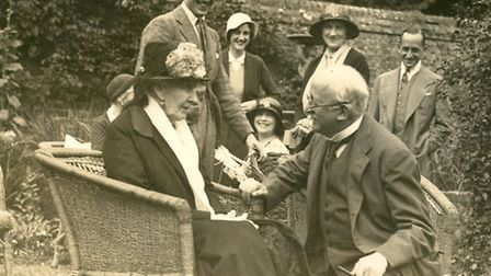 Sir Edwin Lutyens with Dowager Countess of Lytton on her 90th birthday and other family members in S