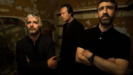 I Am Kloot, with John Bramwell (left), Andy Hargreaves (right) and Peter Jobson (centre).