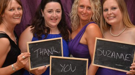 Jayne Carr, Lisa Tydd, Fran Miller and Laura Holden from the centre with a special message for Suzan
