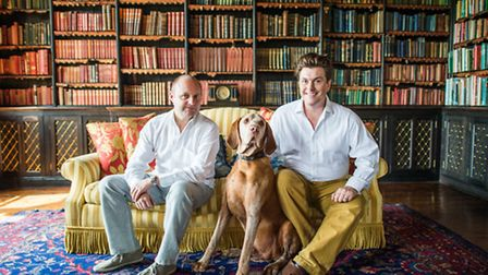 Owners Chris Badham and Damian Llambias with Oscar, their not-so-wired-haired, Wirehaired Vizsla