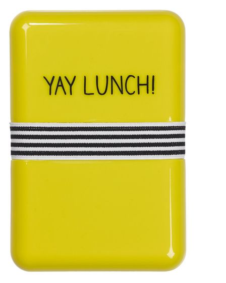 Bright yellow Yay Lunch box with blue inside, £5.99, Hunky Dory Home (www.hunkydoryhome.co.uk)