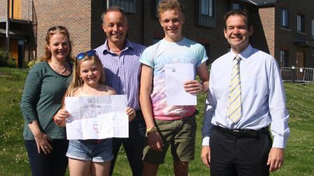 Mr & Mrs Jamieson, Jack Jamieson, John Green and Amy Jamieson with her congratulations picture