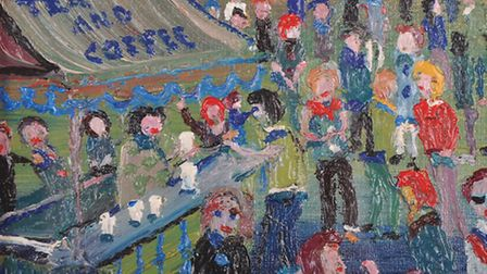 Fred Yates (1922-2008) British. Tea and Coffee, figures around a stall. Estimate: 400-600