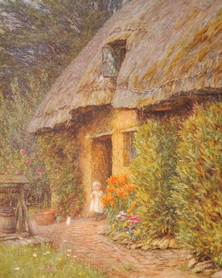 Helen Allingham (1848-1926) British. Waiting for Mother, A Young Girl, Standing in the Doorway of a