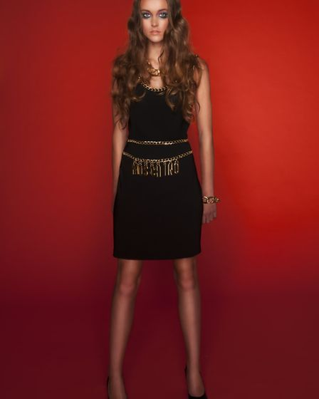 Fitted gold chain detail dress by Moschino Couture, £1,125, Selfridges
