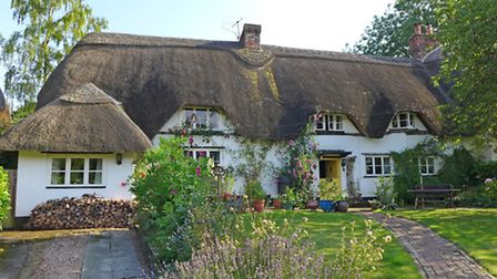 Patches, Amport, £525,000 - Pretty Grade II listed thatched cottage with three bedrooms overlooking