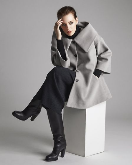 Coats are coming in at least fifty shades of grey but it is the collar shape of this coat by Bitte K