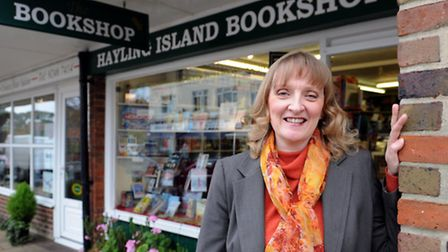 Bookfest founder Marie Gray outside Hayling Island Bookshop