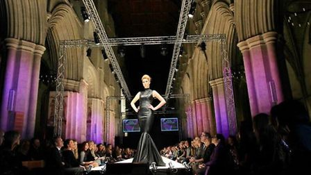 The catwalk show in St Albans Cathedral