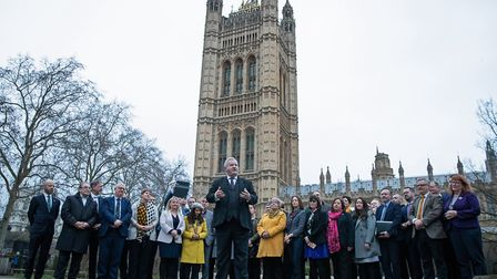 Ian Blackford with SNP MPs in Westminster, London. Photograph: Aaron Chown/PA.