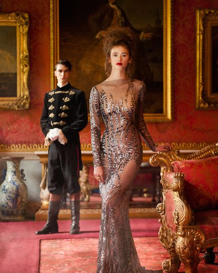 Paige wears a full length sequin gown, £800, Zeynep Kartal; Tucker wears military outfit from Royal
