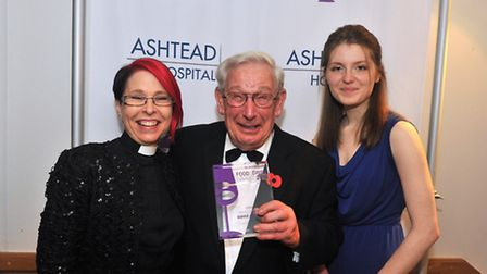 The Very Revd Dianna Gwilliams and Emily Whiteley with Pride of Surrey 2014 winner Barrie Arminson f
