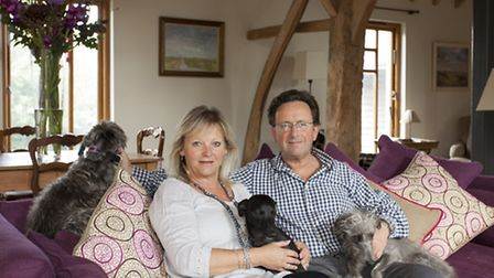 Sally and Michael with (from left) their Bedlington whippets Bean Bob, Myrtle and Mini Maud