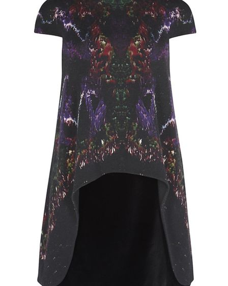 FLIGHTS OF FANCY This Alexander McQueen moth-print crepe and velvet A-line, £1,895 from Harvey Nich
