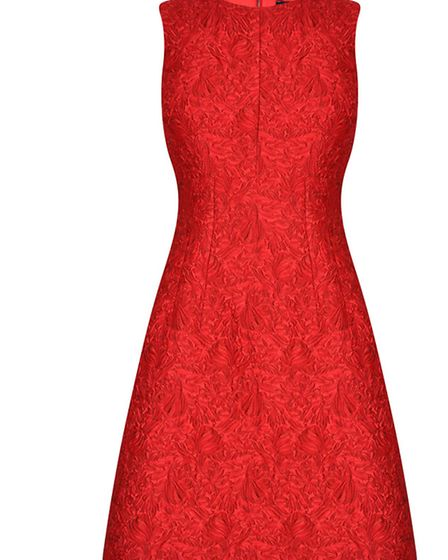 FIRE BROCADE Youll light up the room in this firey red Dolce & Gabbana brocade mini, £1,290 from Li