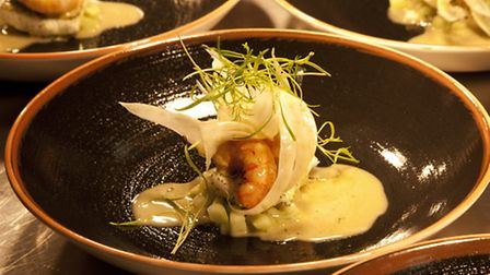 Plaice grilled langoustine fennel cucumber & seaweed as appeared on BBC_s Great British Menu 2014
