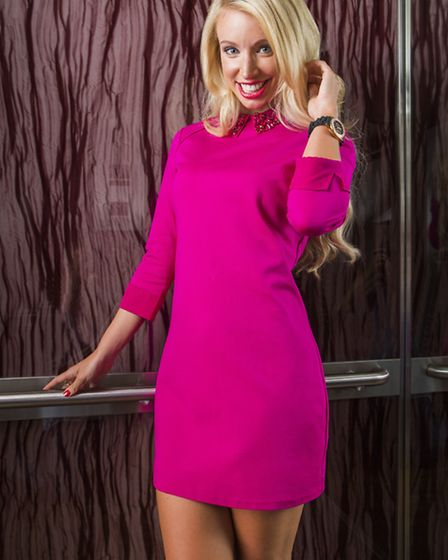Eelah embellished collar dress, Ted Baker, £139; Bellini extreme point courts in pewter fabric, Dun