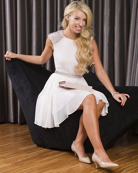 Light pink beaded detail dress, Ted Baker , £199; Arianne courts in nude, Hobbs, £129; Beroccy rep