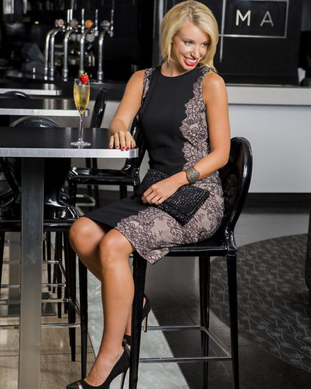 Chantilly lace dress, Hobbs, £199; Bellini shoe in black suede, Dune, £85; embellished fold over