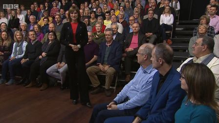 Fiona Bruce introduces Question Time. Photograph: BBC.
