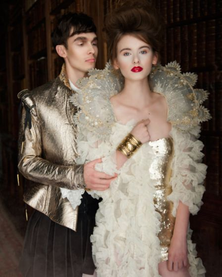 Paige wears a Citrine gold body suit, £450 and Citrine ruffled cape; £750, Zeynep Kartal, Tuckers pe