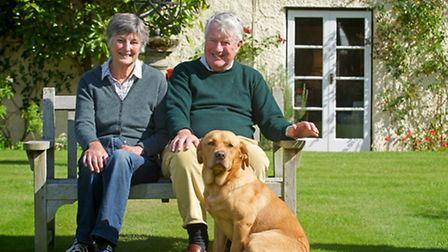 Edwina and Julian Robarts with one of their pet labradors, Toffee