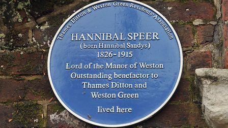 A Blue Plaque paying tribute to local resident Hannibal Speer