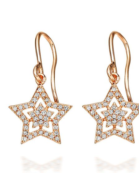 STAR QUALITY Be the star of the Christmas show with these twinkly rose gold earrings, £695 from Ast