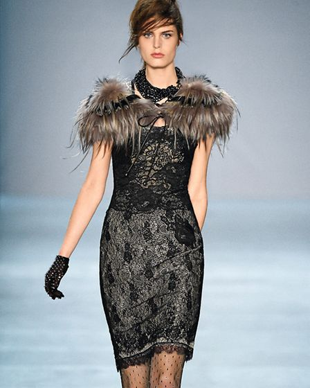 Fur and lace are so fashion forward. Dress, £669 and stole, £569, Marc Cain www.marc-cain.com