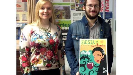 Naomi Turner, Managing Director of Pink Sky with Liam Fuller, third year Illustration student Liam F