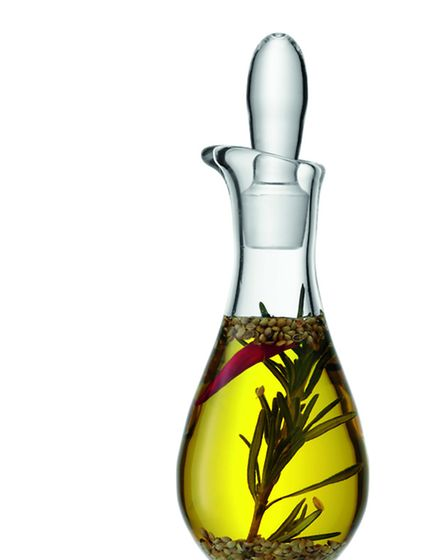 This handmade glass bottle is ideal for salad dressings or special infused oils. £26.95 at Annabel J