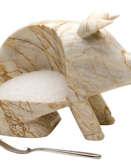 The hand-crafted marble salt piggy is elegant enough to grace any cooks kitchen. Available in dark o