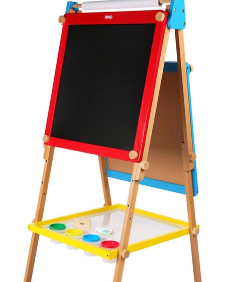 With one side a chalkboard and the other a wipe-clean magnetic white board, this Easel suits all sty
