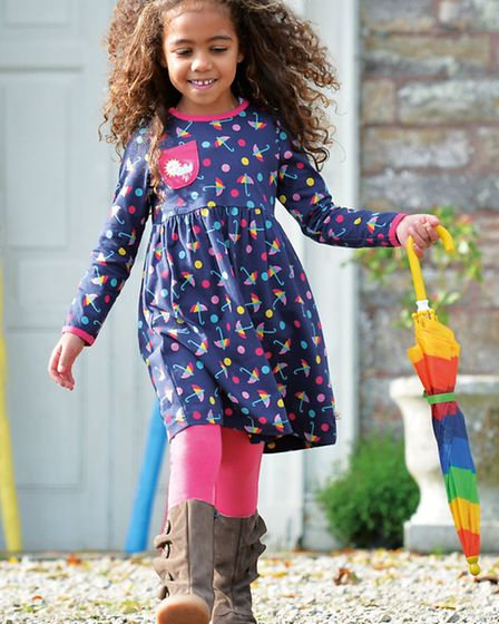 Ideal for splashing about in puddles, the Frugi brolly dress is available in sizes 3-8. £28 at www.i