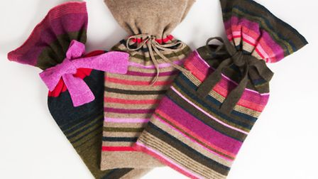 Adorable lambswool hotties covers in snuggly stripes, handmade by Rowena in London. £58 www.thelime