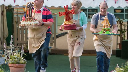 Luis, left, with his amazing cake tribute to Poynton and the other Great British Bake Off finalists,