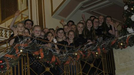 GAPA pupils on the grand staircase at the Dominion Theatre, London.