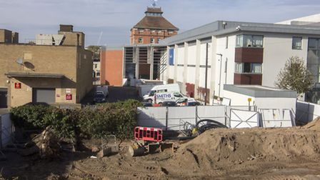 It is business as usual for local shopkeepers at The Brewery, Cheltenham, as development continues o