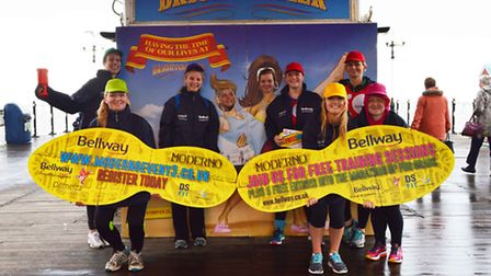 Bellway runners at Brighton Pier to promote free boot camps and marathon places